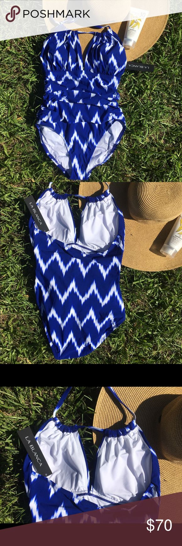 La Blanca slimming 1 piece,sz 8,NWT La Blanca one piece is size 8 and new with tags. Swimsuit has tummy control and has slimming ruching on the front. The bottom is full coverage. The top portion has a shelf bra and ties around the neck for a lifting effect. Has a cheerful blue and white print that looks great on all skin tones! Feel free to message me with any questions or make offers! La Blanca Swim One Pieces