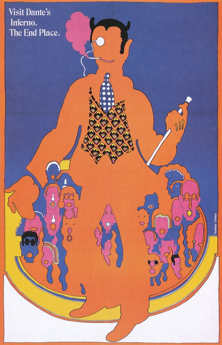Seymour Chwast, poster illustration for Dante's inferno, Issue N. 52, 1967. Push Pin Studios, USA.