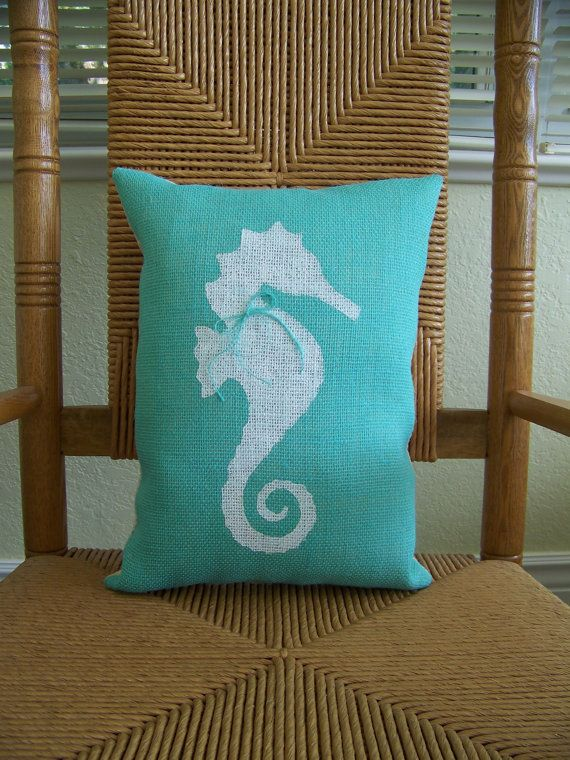 seahorse pillow beach pillow nautical pillow by