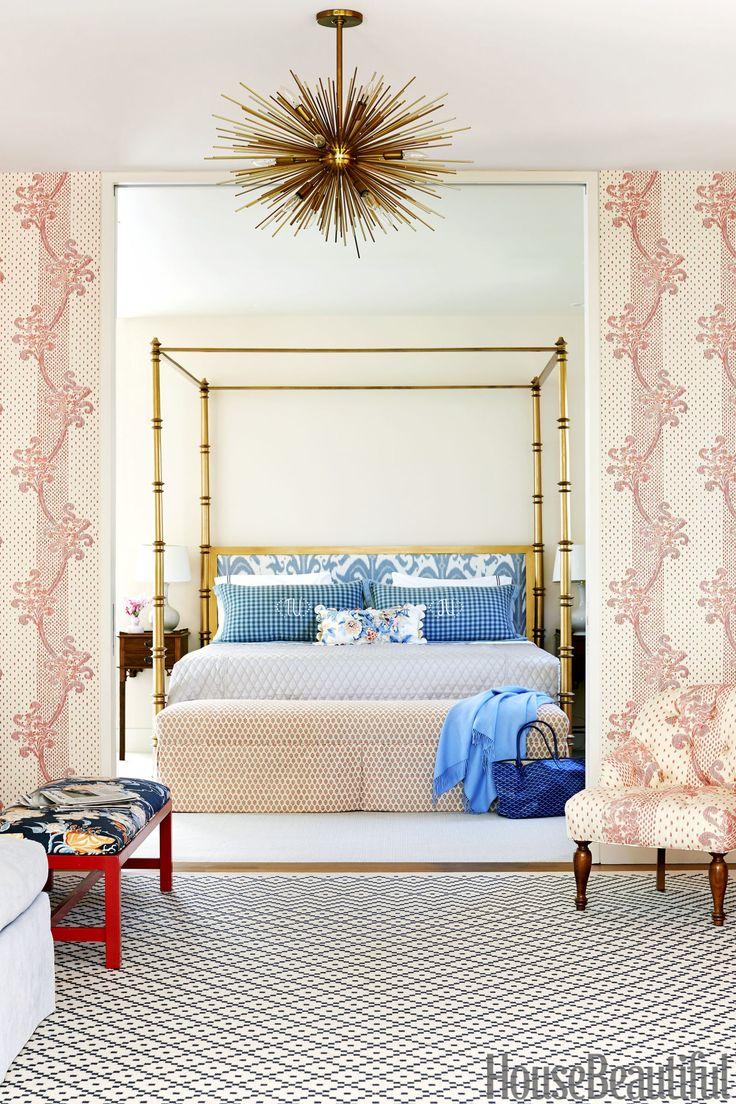 Navy greek key rug transitional entrance foyer libby langdon - 175 Beautiful Designer Bedrooms To Inspire You