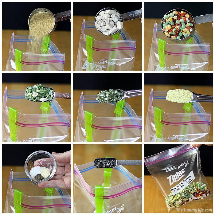 6 Instant Meals-On-The-Go. Nutritious and easy for backpacking, camping, dorms, office, travel, and emergencies. from TheYummyLife.com