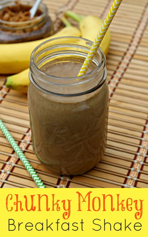 Chunky Monkey Breakfast Shake with plenty of protein and healthy fats to keep you full and energized for hours
