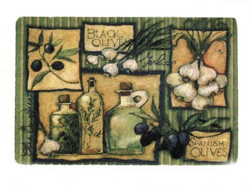 Olive Kitchen Decor Area Rug Mat Featuring Herb Garlic