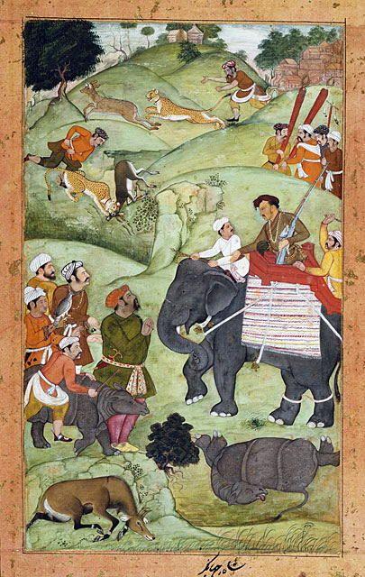 Prince Salim at a Hunt (recto), Calligraphy (verso), Folio from a Shikarnama (Hunting Album) Muhammad Nasir al-Munshi (India or Iran) India, Mughal empire, Allahabad, Salim's studio, 1600-1604 Drawings; watercolors