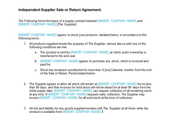 Sale or Return Agreement Template - Bizorb Projects to Try - supply agreement contract