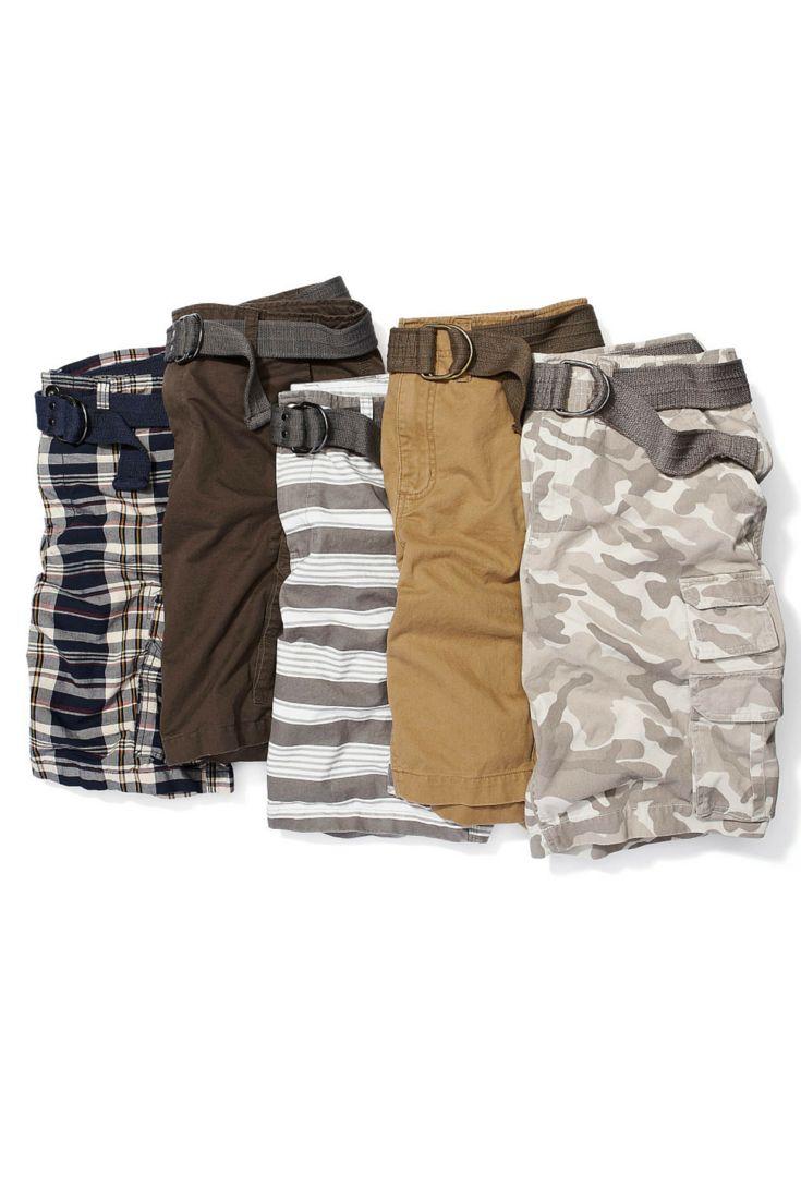 Men love their cargos. An everyday neutral in camo, stripes and khaki. #looksforless #cargoshorts #summerfashion