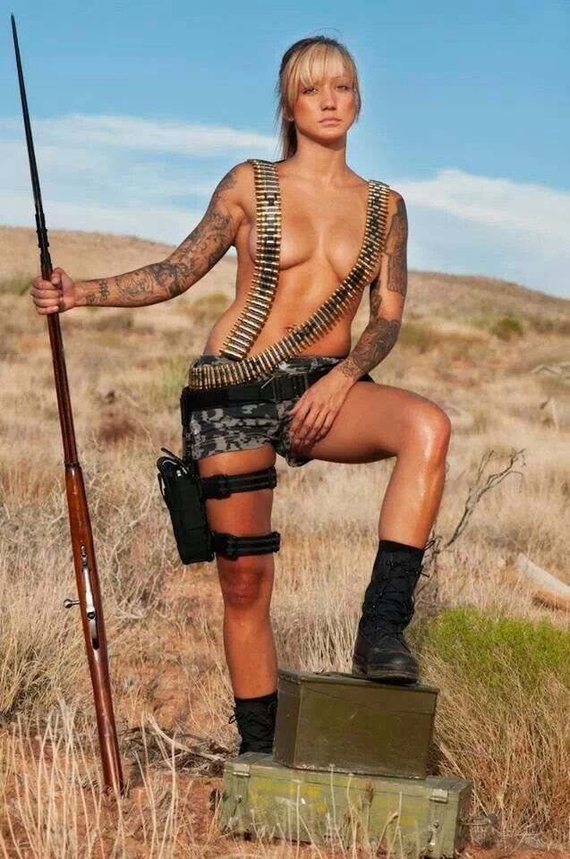 Remarkable, nude women with machine guns