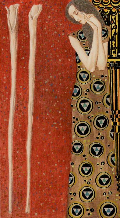 2 Wands Golden Tarot of Klimt - http://www.amazon.com/Golden-Tarot-Deck-Kat-Black/dp/1572814349/ref=sr_1_1?ie=UTF8&qid=1384925063&sr=8-1&keywords=the+golden+tarot