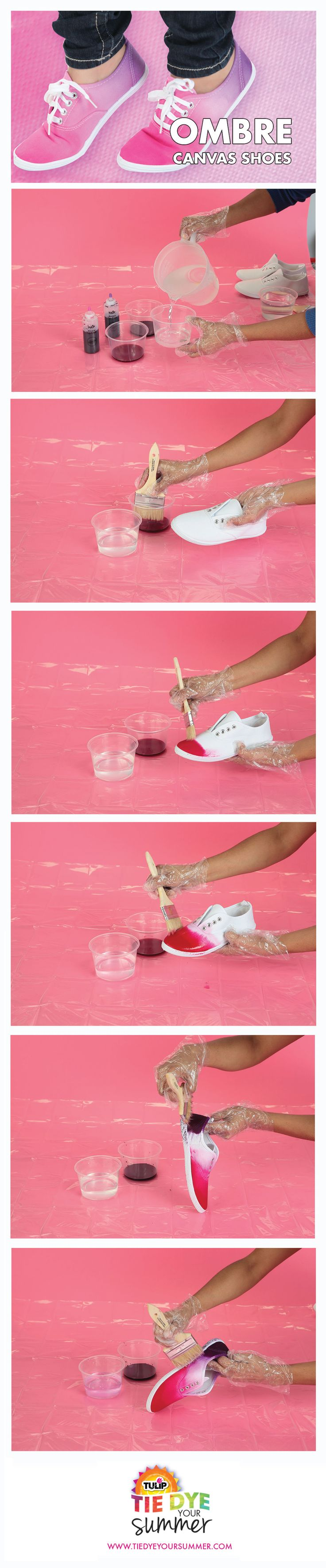 Make your own ombre kicks with Tulip One-Step tie dye!  Just blend our dye with your water for this cool gradient look on your shoes.