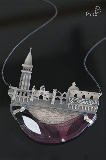 Morning in Venice. Silver necklace with fused glass. Poranek w Wenecji - srebrny naszyjnik ze szkłem (srebro + szkło / fusing)| Sztuk Kilka