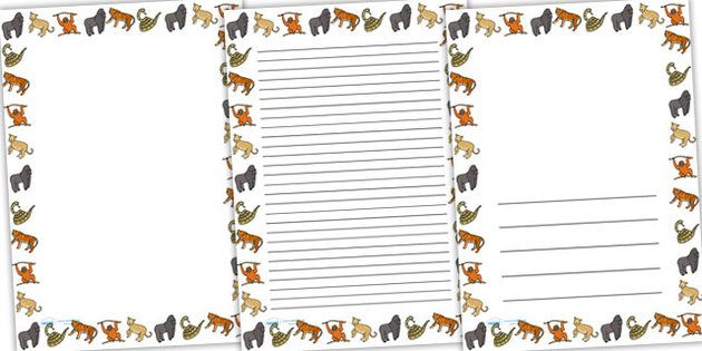 Animal border writing paper