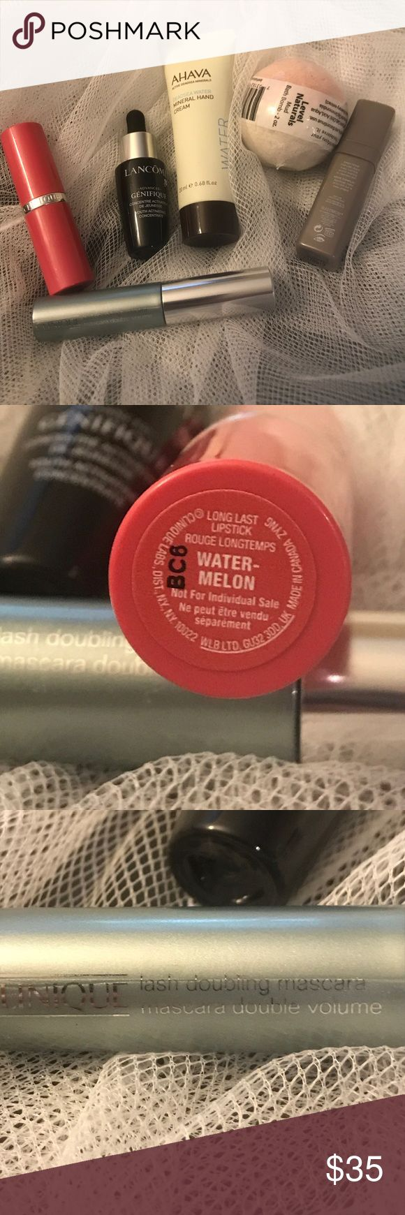 High End Make Up & Skincare Lot 1. Clinique Long Last Lipstick in Watermelon & Lash Doubling Mascara in black 2. Lancôme Advanced Genefique 3. Ahava Mineral Hand Cream 4. Laura Mercier Flawless Skin Eye Serum 5. Level Naturals Mud Bath Bomb Makeup