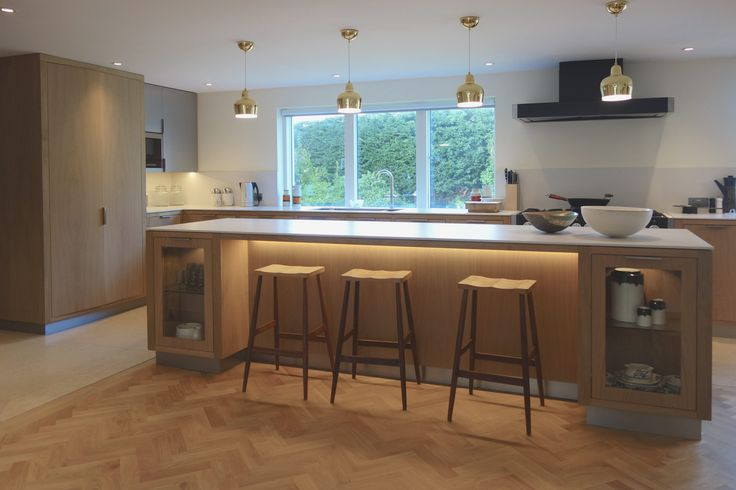 Russell PInch stools lined up at a white oiled oak island unit with A330s Golden Bell pendants by Artek. Designed by Absolute Architecture http://www.absolute-architecture.co.uk/