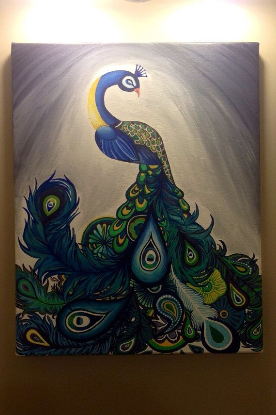 Original Acrylic Peacock Painting: Bird Kingdom Royal on Etsy, $200.00 CAD