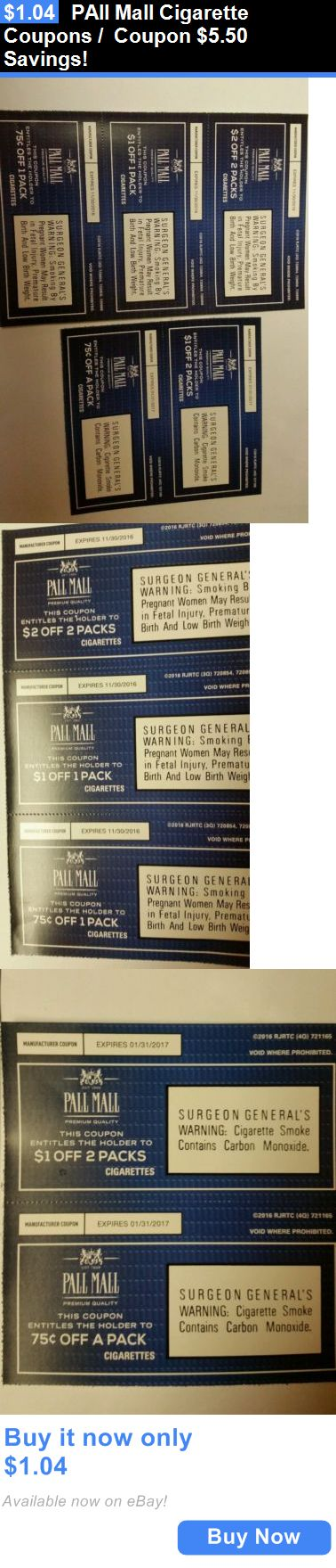 Coupons: Pall Mall Cigarette Coupons / Coupon $5.50 Savings! BUY IT NOW ONLY: $1.04