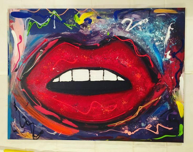 Monoprint - TALK TO ME, acrylic paint on canvas, 75 x 100