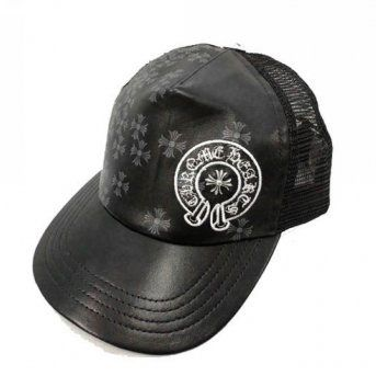 2013 Chrome Hearts Leather Horseshoe Cross Charm Black Cap