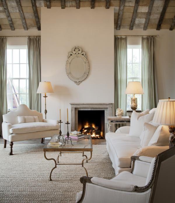 Guest living area fireplace, terra cotta ceiling tile