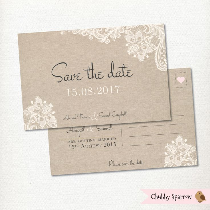 A personal favourite from my Etsy shop https://www.etsy.com/uk/listing/244681764/save-the-date-postcard-lace-linen