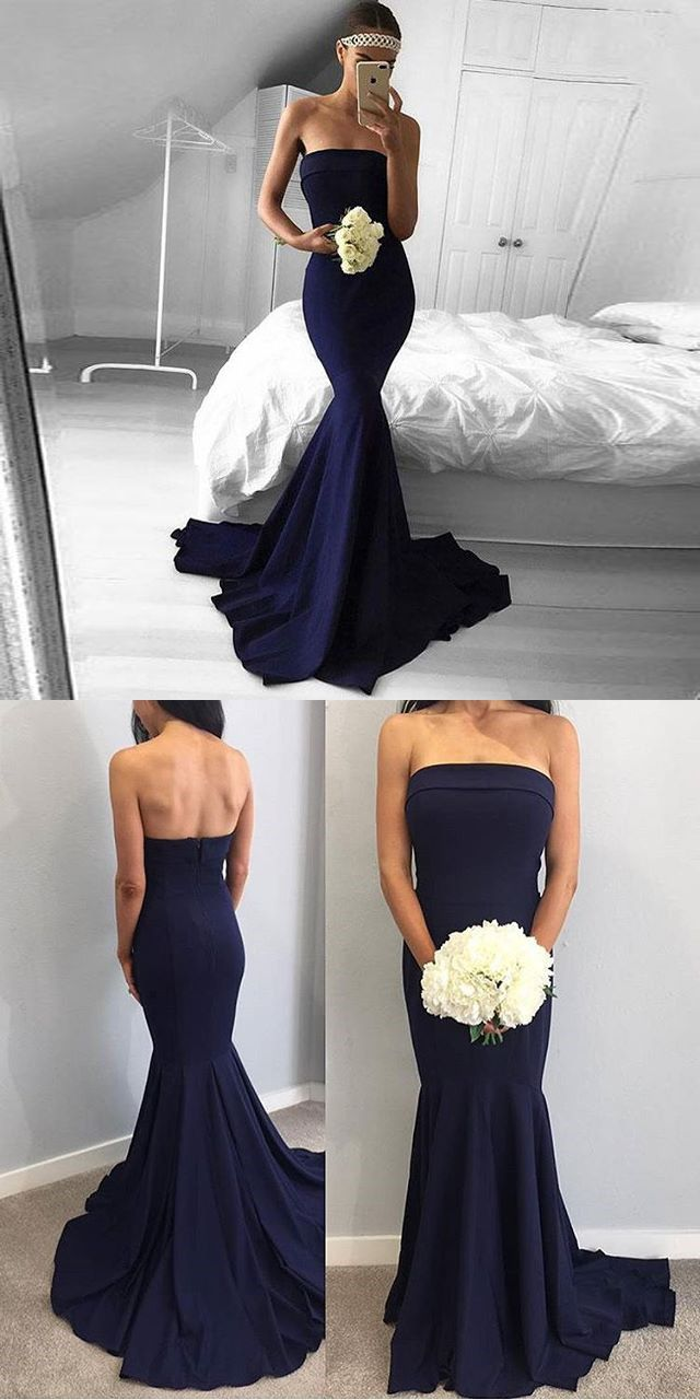 Strapless Mermaid Formal Evening Gown Navy Blue Prom Dress With Sweep Train From Dresschic Evening Gowns Formal Prom Dresses Blue Dresses [ 1280 x 640 Pixel ]