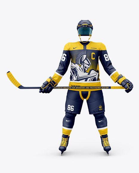 Download Download Mens Full Ice Hockey Kit With Stick Psd Mockup Front Viewtemplate Clothing Mockup Design Mockup Free Shirt Mockup