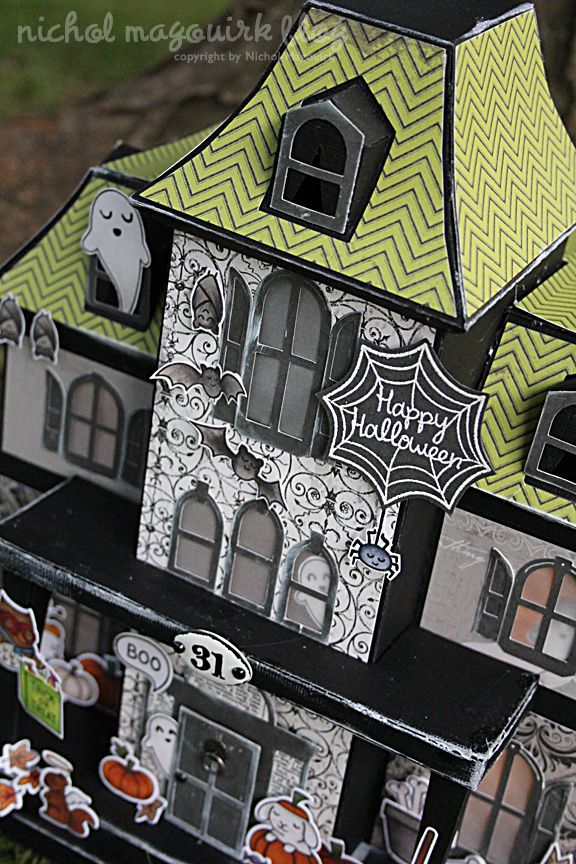 Lawn fawn august inspiration week haunted houses paper for How to make a cardboard haunted house