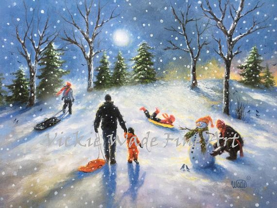 Family Snow Sledding Art Print Sledding Children Paintings Etsy Painting Art Painting Snow