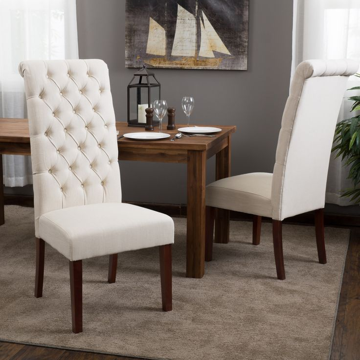 Tall Natural Tufted Fabric Dining Chair (Set Of By Christopher Knight Home  (Tall Natural Tufted Dining Chair), Beige Off White (Linen)