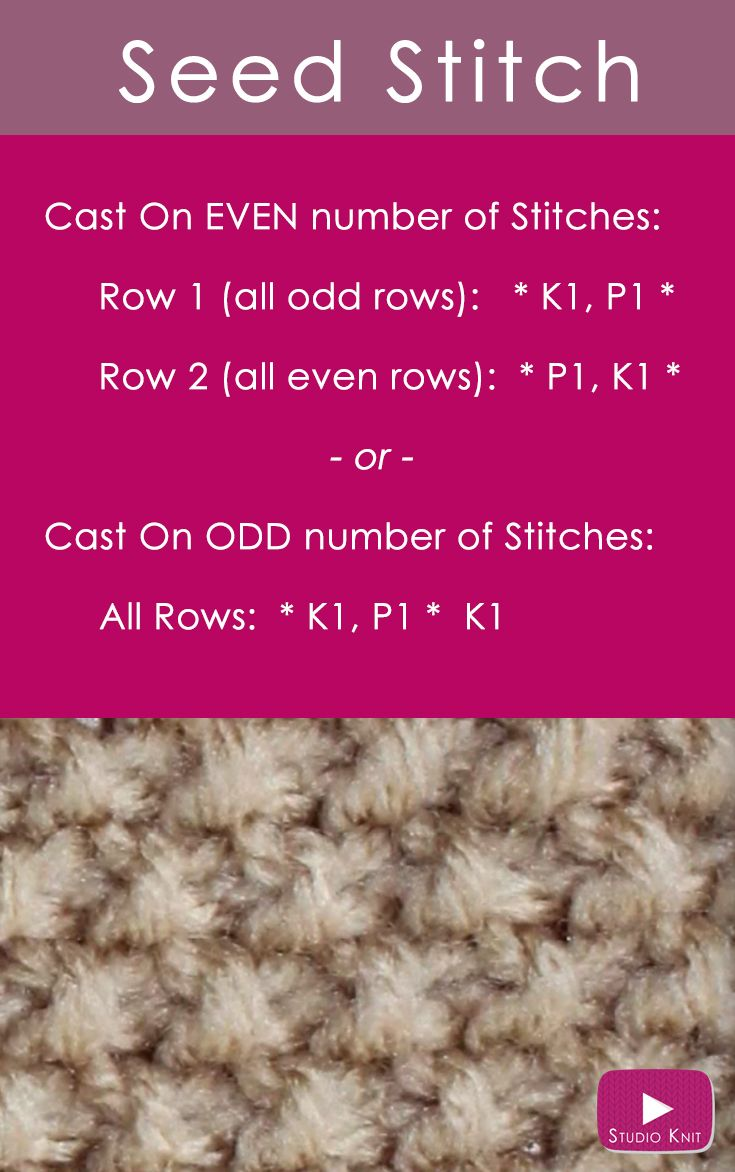 How to Knit the Seed Stitch Pattern with Studio Knit via @StudioKnit