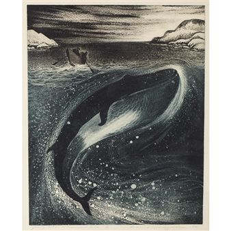 YOUNG WHALE IN GREENSPOND TICKLE By David Blackwood ,1974