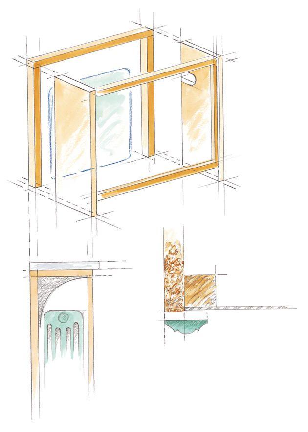 Tuto : un cache-radiateur en bois // http://www.deco.fr/actualite-deco/167890-cache-radiateur-bois-menuiserie-plaque-marbre.html