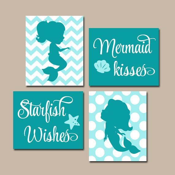MERMAID Wall Art Canvas or Prints Sister BATHROOM by TRMdesign