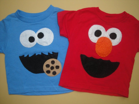 Cookie Monster and Elmo TShirts by EllieShea on Etsy, $29.50