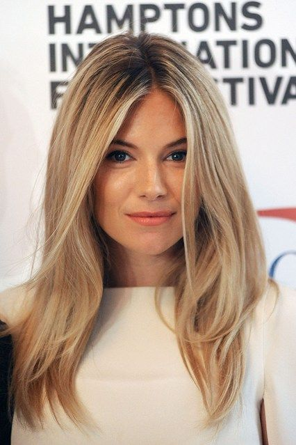 Sienna Miller- centre parting with face framing layers. (Oct-2012)