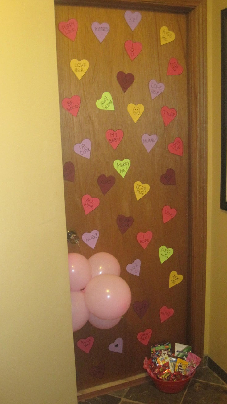 .... Valentines Morning SURPRISE! Stenciled conversation heart candies and stuck them to the door with tape,balloons and some treats! tada! Gifts For Her