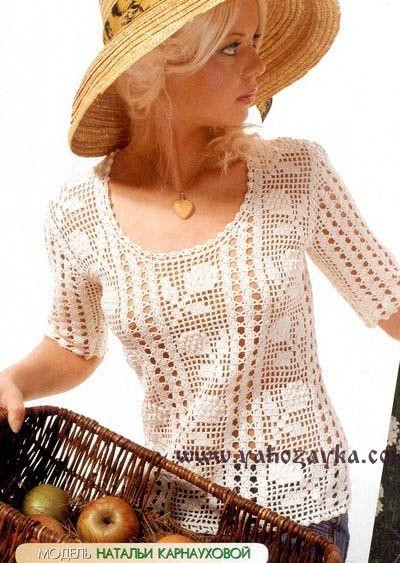 Блуза в технике филейного вязания. Ажурная блуза крючком схема и описание.