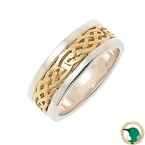 Our ladies 18ct white gold and yellow gold Celtic ring featuring yellow gold Celtic weave over a white gold solid band.