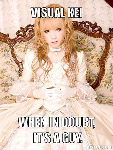 Only Hizaki from Versailles Philharmonic Quintet can totally shred on guitar and rock a rococo-style gown.