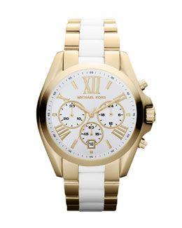 Y2AEY Michael Kors Mid-Size Two-Tone Bradshaw Chronograph Watch
