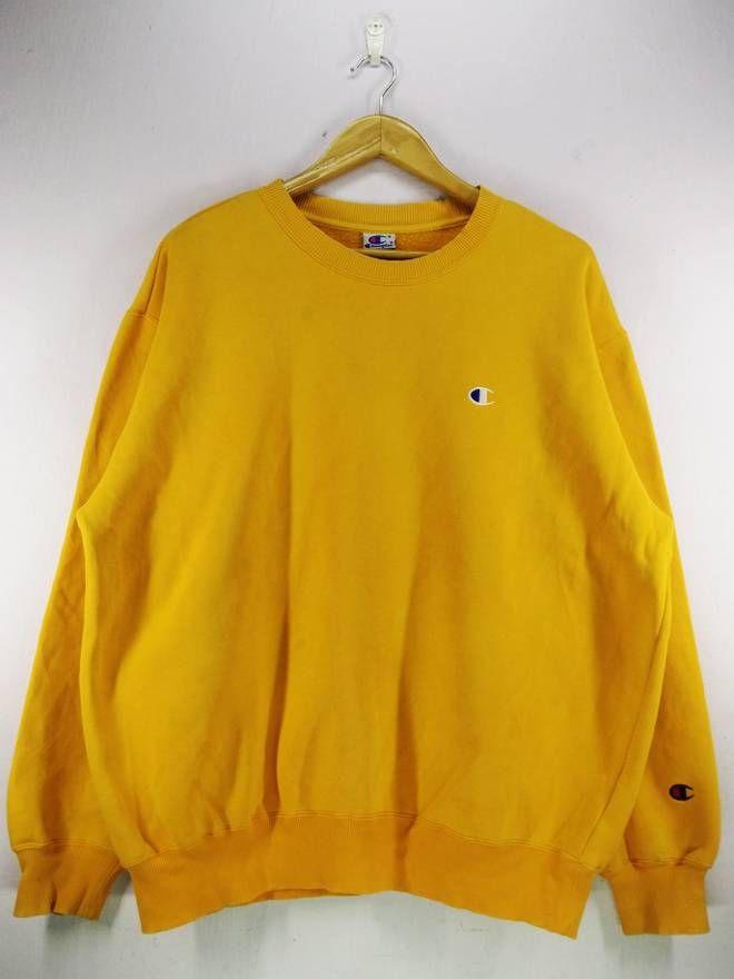 804de77f9bbd Champion Vintage 90 s Champion Small Logo Yellow Sweatshirt Jumper Pullover  Size Extra Large Size US XL   EU 56   4