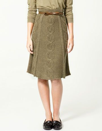Cable Knit flared skirt