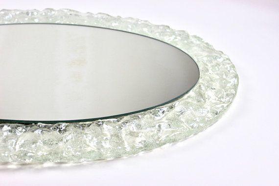 Vintage Eisglas Spiegel Wandspiegel Flurspiegel Ovaler Spiegel Garderobe Midmodern Mid Century Interior 60er 70er Home Decor Mid Century Mirror Decor
