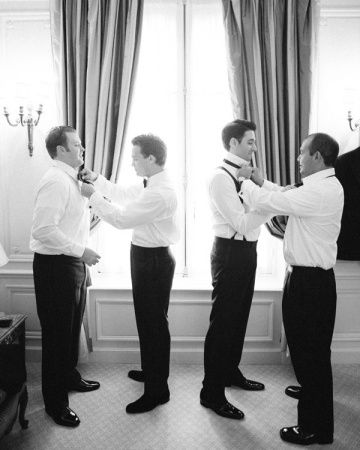 Dapper groomsmen prepping for the big day. Tyler would love to have a picture like this.