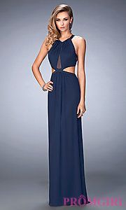 Buy Long Prom Dress with Side Cut Outs by La Femme at PromGirl