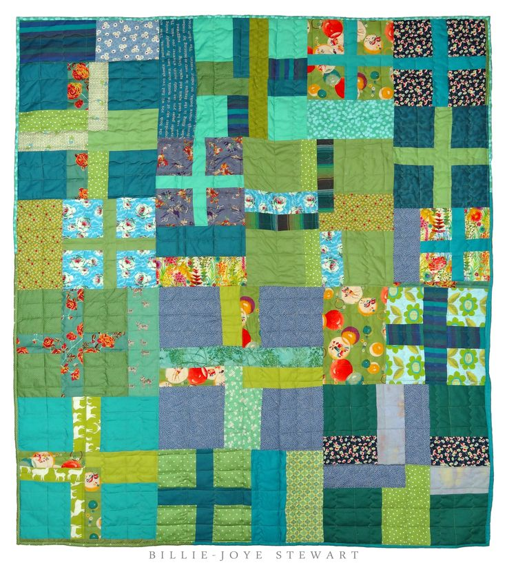 Blue and green cross quilt for Marty  160cm x 142cm  Machine pieced and quilted 2014