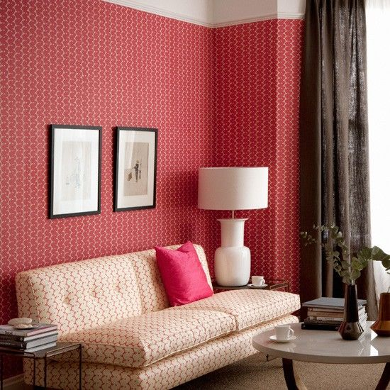 Red patterned living room - H
