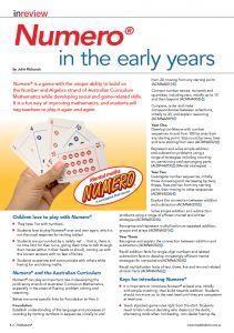 Numero in Early Years Australian Curriculum Mathematics