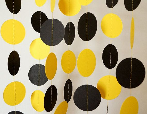 Black and Yellow Paper Garland, Graduation Decorations, Bumble Bee Birthday Party Garland, 10 ft. long on Etsy, $10.00