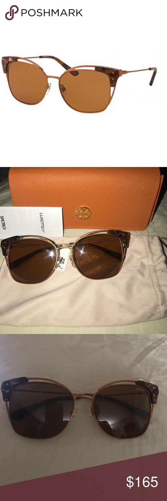 Tory Burch sunglasses Tory Burch TY6049 Sunglasses 315073-56 - Rose Gold/brown Mosaic Frame, Solid Amber Lenses.     Brand new with tags attached and 2 cases. Tory Burch Accessories Sunglasses