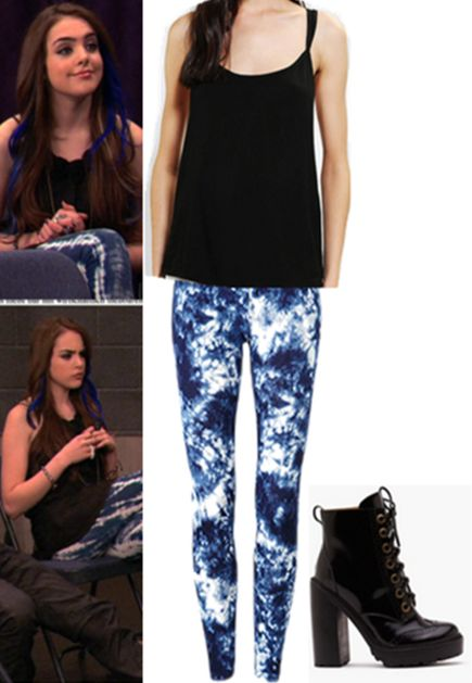 """REQUESTED: Jade West's first outfit in, """"Freak the Freak Out."""" Top Leggings Boots"""